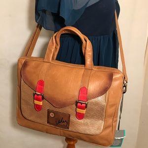 Velez Tan Caramel Leather Crossbody Messenger Bag